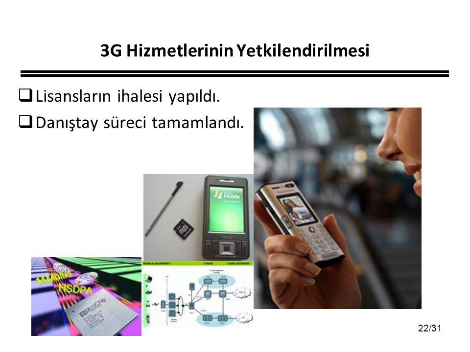 22/31 3G Hizmetlerinin Yetkilendirilmesi  Lisansların ihalesi yapıldı.  Danıştay süreci tamamlandı.