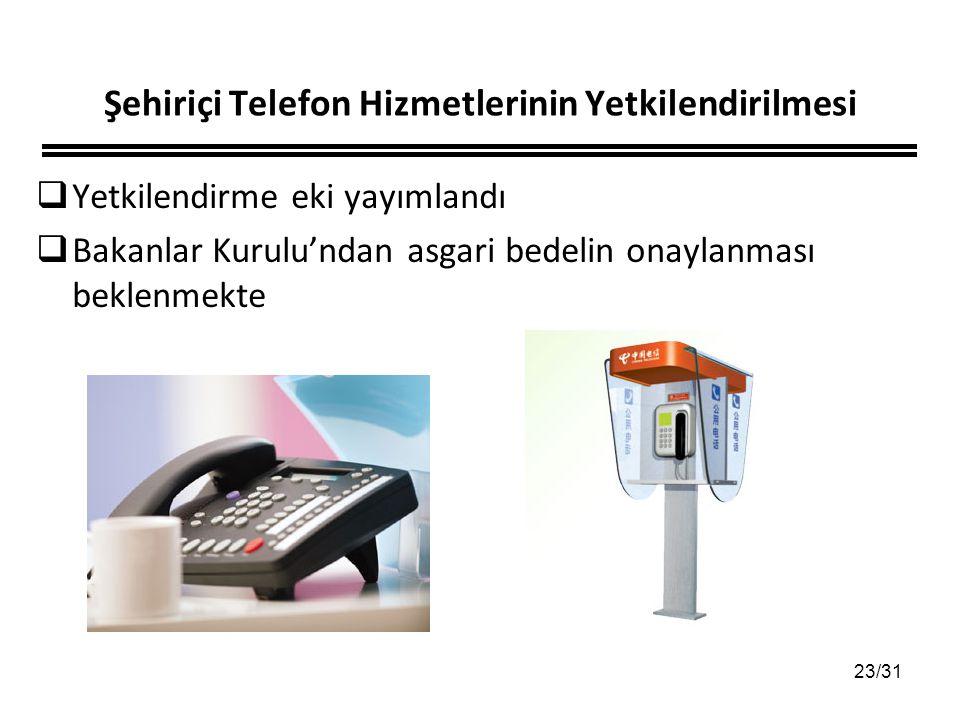 23/31 Şehiriçi Telefon Hizmetlerinin Yetkilendirilmesi  Yetkilendirme eki yayımlandı  Bakanlar Kurulu'ndan asgari bedelin onaylanması beklenmekte