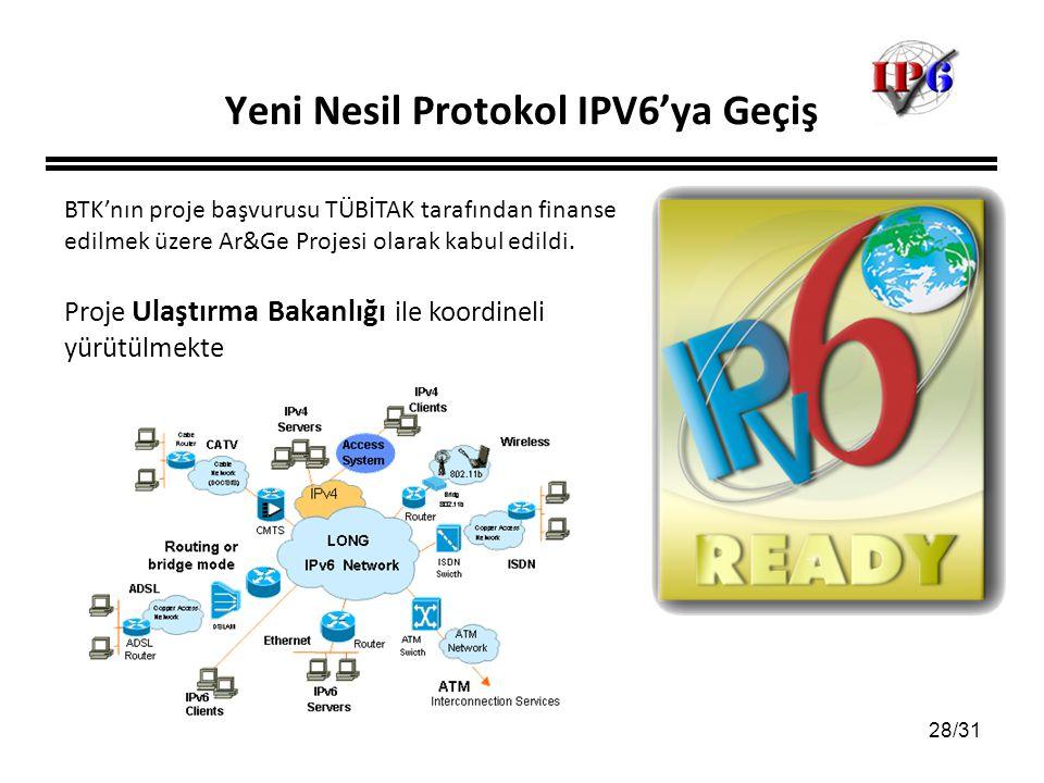 28/31 Yeni Nesil Protokol IPV6'ya Geçiş BTK'nın proje başvurusu TÜBİTAK tarafından finanse edilmek üzere Ar&Ge Projesi olarak kabul edildi. Proje Ulaş