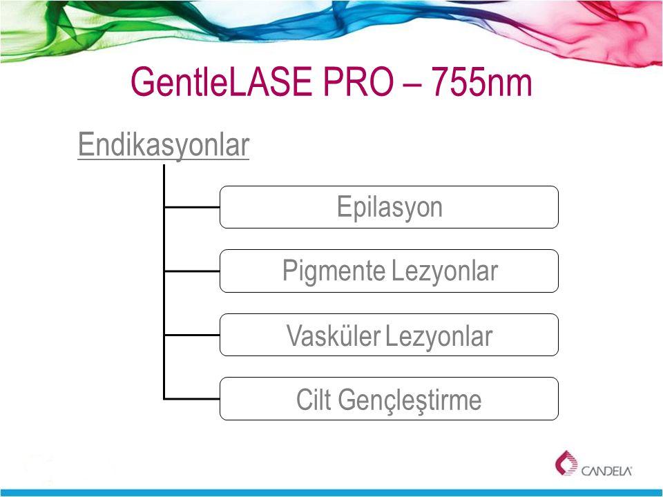 GentleLASE PRO – 755nm Endikasyonlar Epilasyon Pigmente Lezyonlar Vasküler Lezyonlar Cilt Gençleştirme