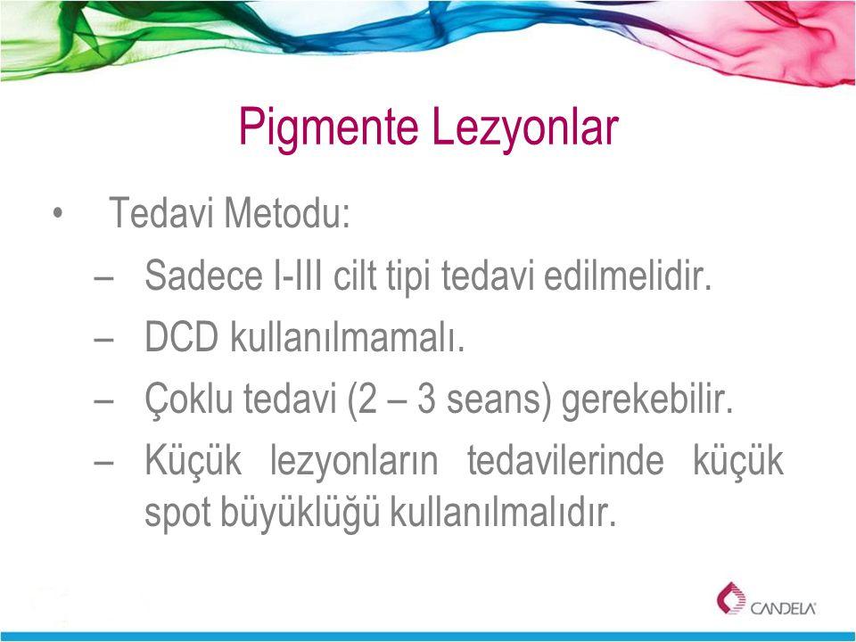 Pigmente Lezyonlar Tedavi Metodu: –Sadece I-III cilt tipi tedavi edilmelidir. –DCD kullanılmamalı. –Çoklu tedavi (2 – 3 seans) gerekebilir. –Küçük lez