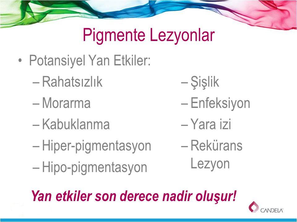 Pigmente Lezyonlar Potansiyel Yan Etkiler: –Rahatsızlık –Morarma –Kabuklanma –Hiper-pigmentasyon –Hipo-pigmentasyon –Şişlik –Enfeksiyon –Yara izi –Rek