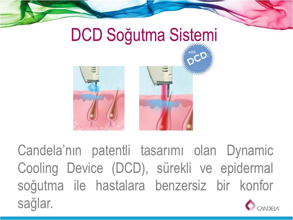 DCD Soğutma Sistemi Candela'nın patentli tasarımı olan Dynamic Cooling Device (DCD), sürekli ve epidermal soğutma ile hastalara benzersiz bir konfor s
