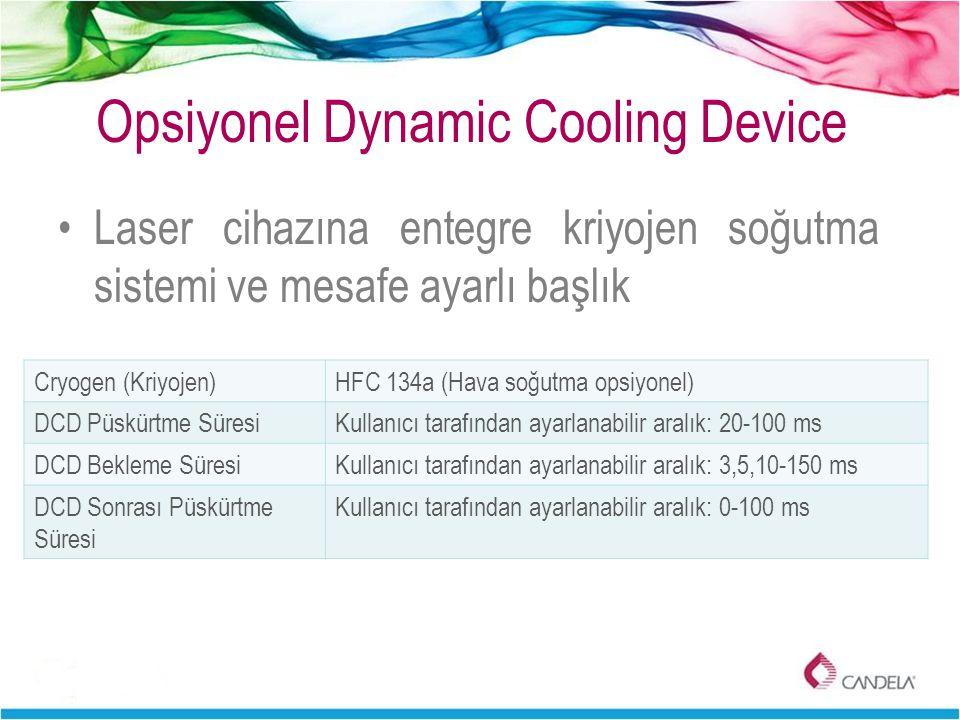 Opsiyonel Dynamic Cooling Device Laser cihazına entegre kriyojen soğutma sistemi ve mesafe ayarlı başlık Cryogen (Kriyojen)HFC 134a (Hava soğutma opsi