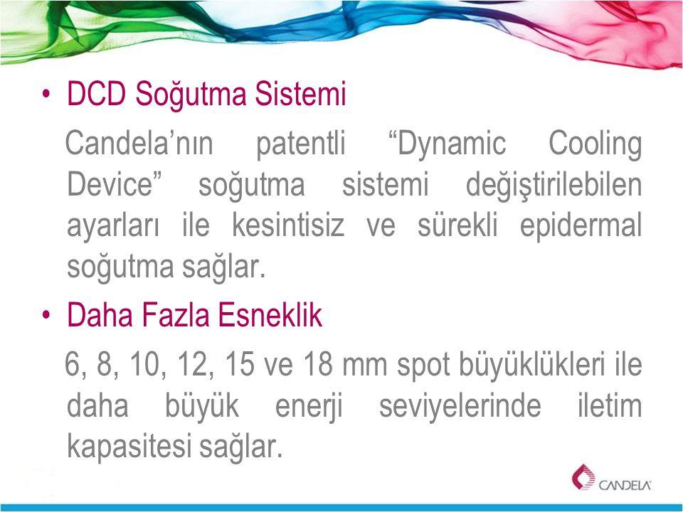 """DCD Soğutma Sistemi Candela'nın patentli """"Dynamic Cooling Device"""" soğutma sistemi değiştirilebilen ayarları ile kesintisiz ve sürekli epidermal soğutm"""