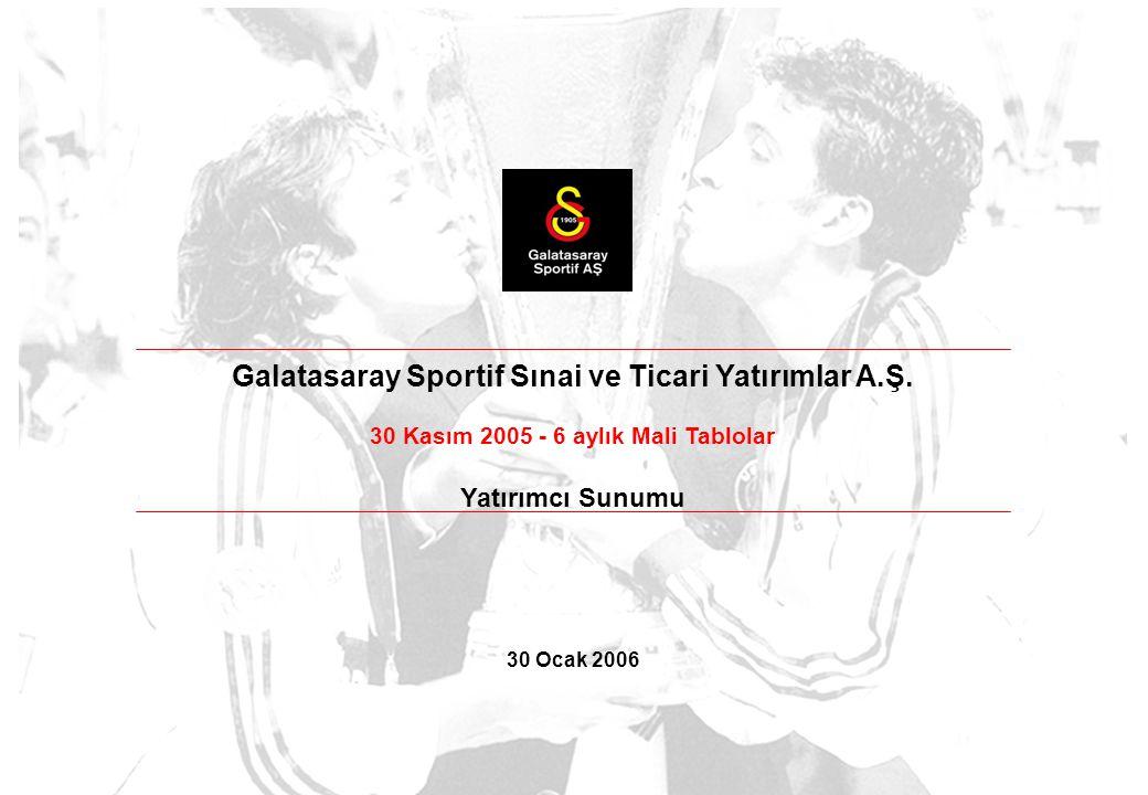Galatasaray Sportif Sınai ve Ticari Yatırımlar A.Ş. 30 Kasım 2005 - 6 aylık Mali Tablolar Yatırımcı Sunumu 30 Ocak 2006