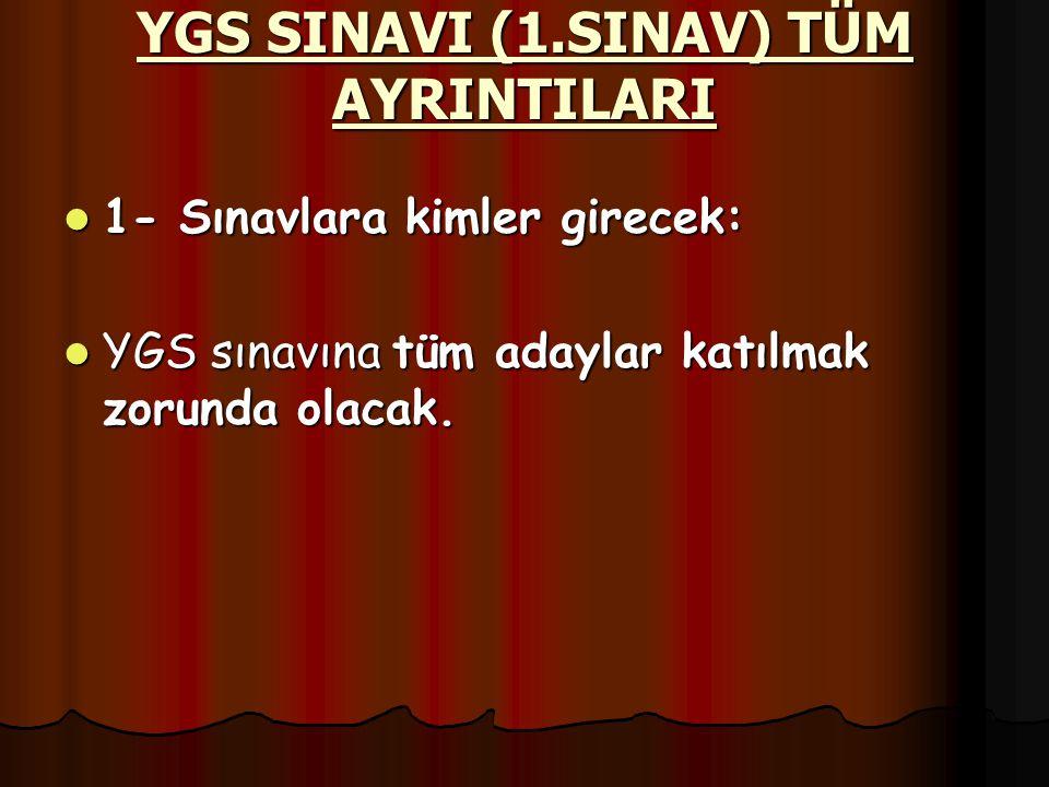 YGS SINAVI (1.SINAV) TÜM AYRINTILARI 1- Sınavlara kimler girecek: 1- Sınavlara kimler girecek: YGS sınavına tüm adaylar katılmak zorunda olacak.