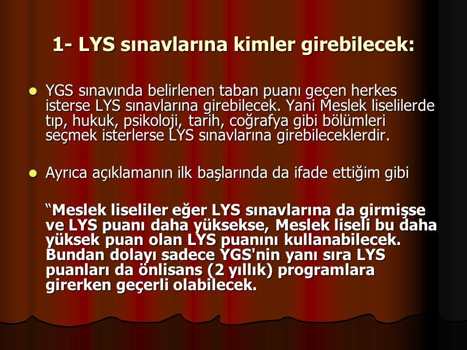 1- LYS sınavlarına kimler girebilecek: YGS sınavında belirlenen taban puanı geçen herkes isterse LYS sınavlarına girebilecek.