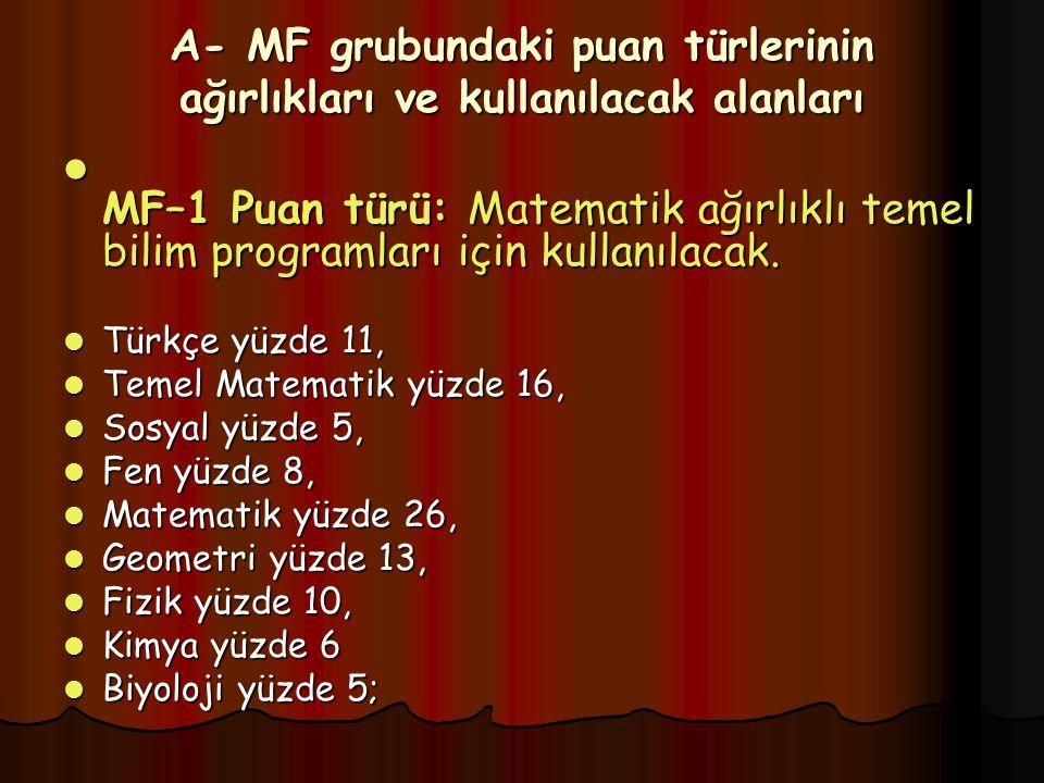 A- MF grubundaki puan türlerinin ağırlıkları ve kullanılacak alanları MF–1 Puan türü: Matematik ağırlıklı temel bilim programları için kullanılacak.