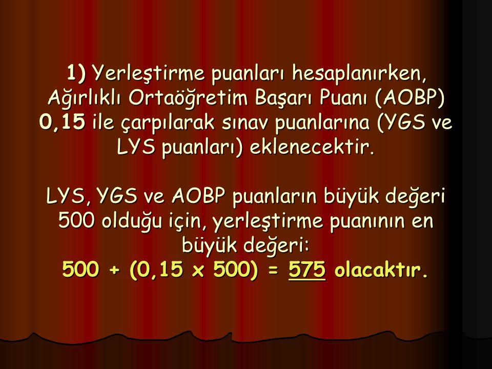 1) Yerleştirme puanları hesaplanırken, Ağırlıklı Ortaöğretim Başarı Puanı (AOBP) 0,15 ile çarpılarak sınav puanlarına (YGS ve LYS puanları) eklenecektir.