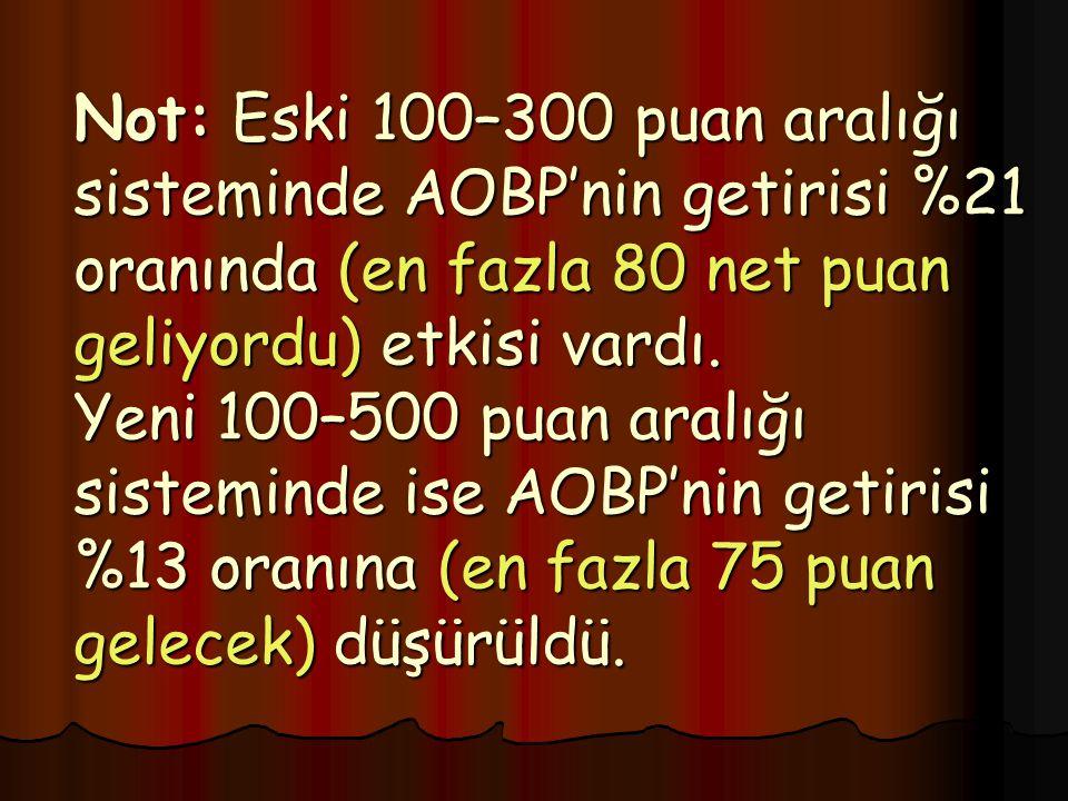 Not: Eski 100–300 puan aralığı sisteminde AOBP'nin getirisi %21 oranında (en fazla 80 net puan geliyordu) etkisi vardı.