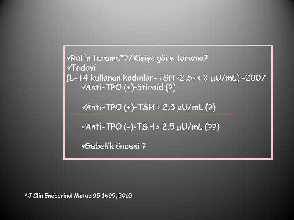Rutin tarama*?/Kişiye göre tarama? Tedavi (L-T4 kullanan kadınlar-TSH <2.5- < 3  U/mL) -2007 Anti-TPO (+)-ötiroid (?) Anti-TPO (+)-TSH > 2.5  U/mL (