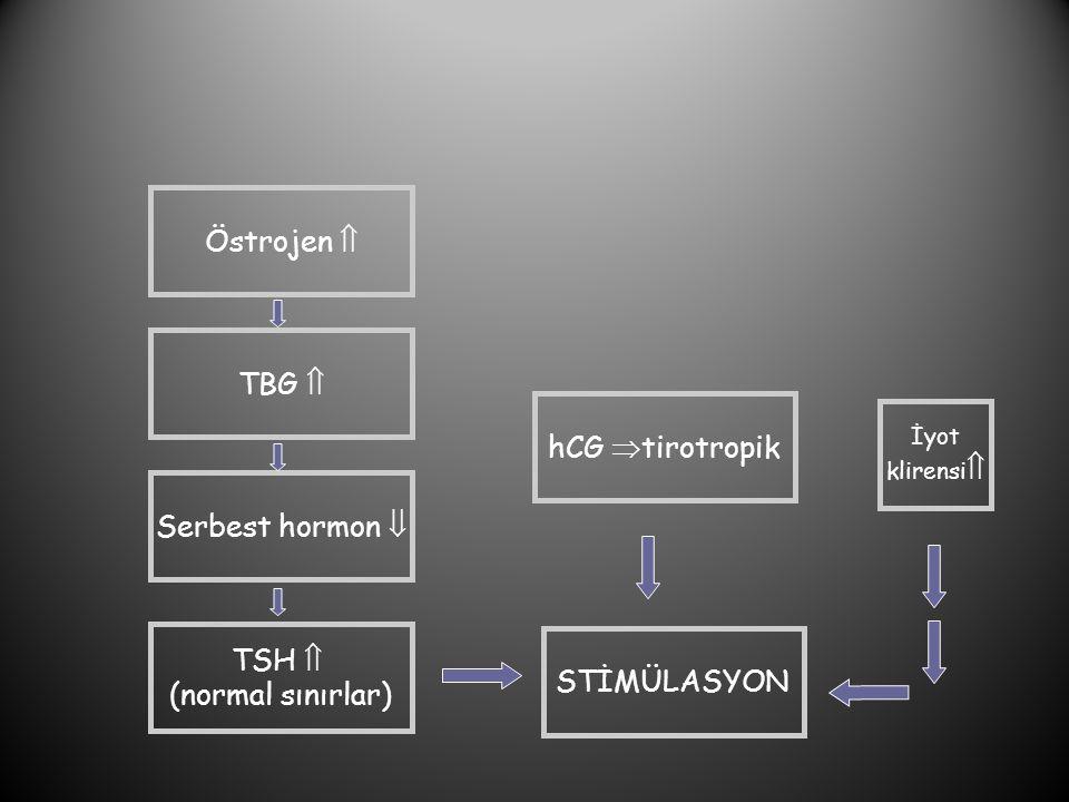 Östrojen  TBG  Serbest hormon  TSH  (normal sınırlar) hCG  tirotropik STİMÜLASYON İyot klirensi 