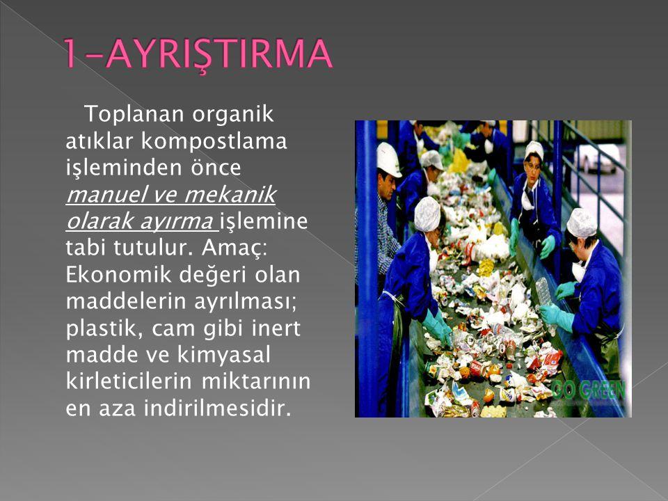 Toplanan organik atıklar kompostlama işleminden önce manuel ve mekanik olarak ayırma işlemine tabi tutulur. Amaç: Ekonomik değeri olan maddelerin ayrı