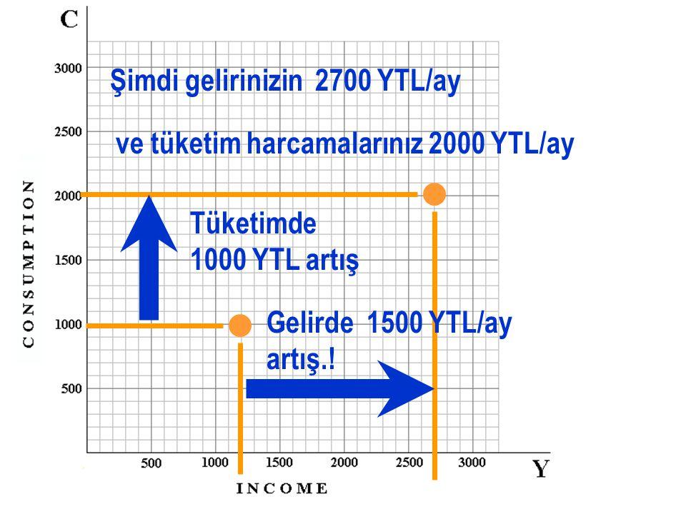 Aylık gelirinizin, 1200 YTL/ay olduğunu ve tüketim harcamalarınızın 1000 YTL/ay olduğunu varsayınız.