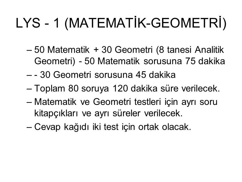 LYS - 1 (MATEMATİK-GEOMETRİ) –50 Matematik + 30 Geometri (8 tanesi Analitik Geometri) - 50 Matematik sorusuna 75 dakika –- 30 Geometri sorusuna 45 dakika –Toplam 80 soruya 120 dakika süre verilecek.