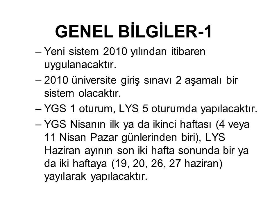 –Yeni sistem 2010 yılından itibaren uygulanacaktır. –2010 üniversite giriş sınavı 2 aşamalı bir sistem olacaktır. –YGS 1 oturum, LYS 5 oturumda yapıla