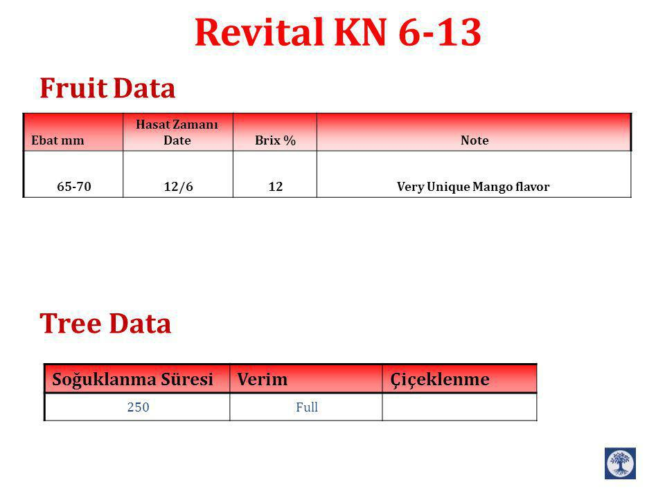 Revital KN 6-13 Fruit Data Tree Data NoteBrix % Hasat Zamanı DateEbat mm Very Unique Mango flavor1212/665-70 ÇiçeklenmeVerimSoğuklanma Süresi Full250