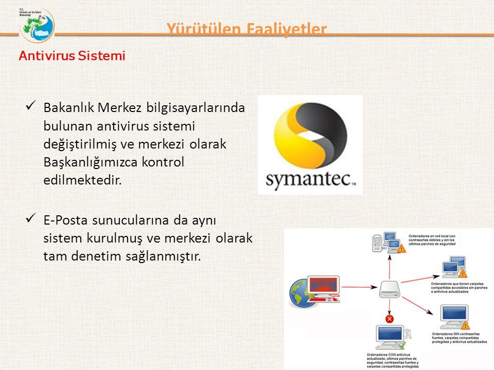 Yürütülen Faaliyetler Bakanlık Merkez bilgisayarlarında bulunan antivirus sistemi değiştirilmiş ve merkezi olarak Başkanlığımızca kontrol edilmektedir