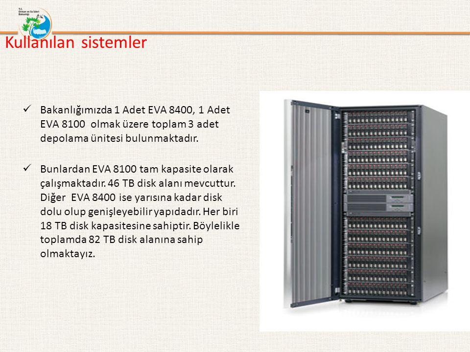 Kullanılan sistemler Bakanlığımızda 1 Adet EVA 8400, 1 Adet EVA 8100 olmak üzere toplam 3 adet depolama ünitesi bulunmaktadır. Bunlardan EVA 8100 tam