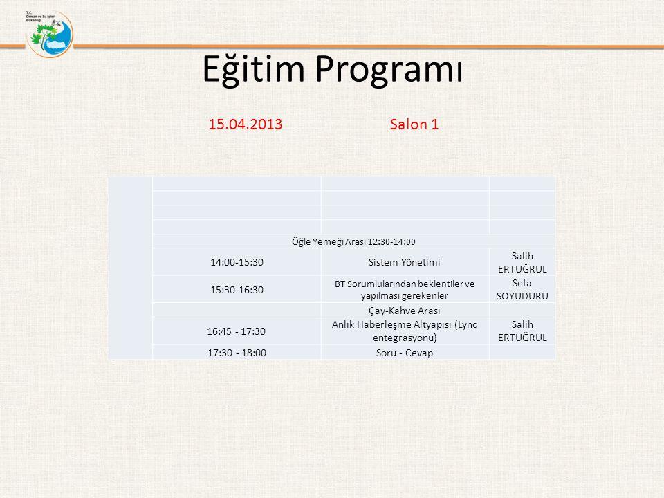 Eğitim Programı Öğle Yemeği Arası 12:30-14:00 14:00-15:30Sistem Yönetimi Salih ERTUĞRUL 15:30-16:30 BT Sorumlularından beklentiler ve yapılması gereke