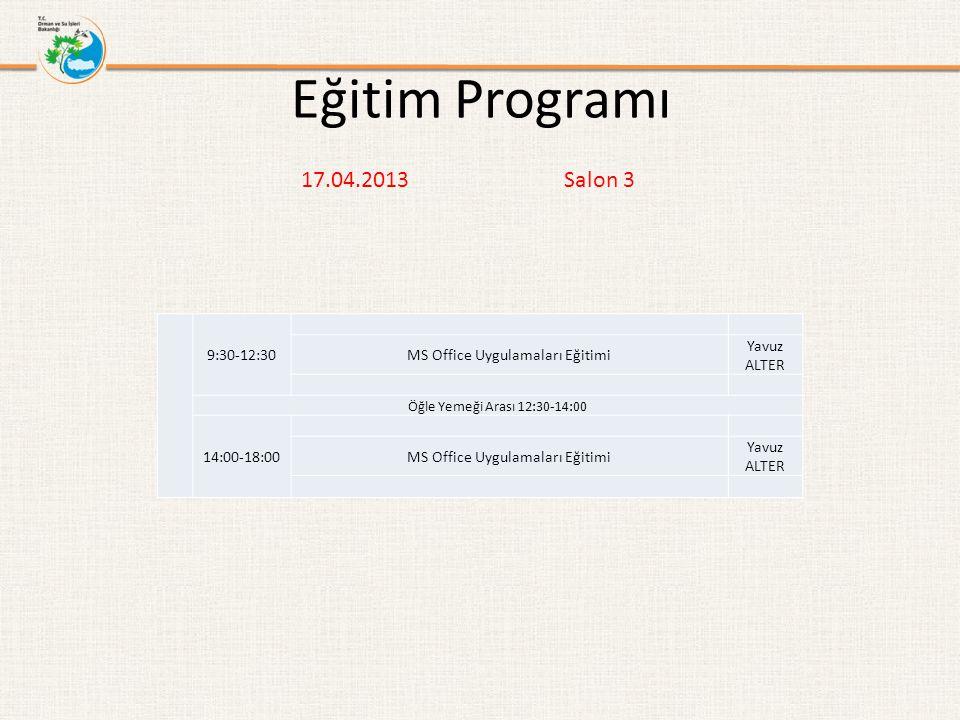 Eğitim Programı 17.04.2013 Salon 3 9:30-12:30 MS Office Uygulamaları Eğitimi Yavuz ALTER Öğle Yemeği Arası 12:30-14:00 14:00-18:00 MS Office Uygulamal