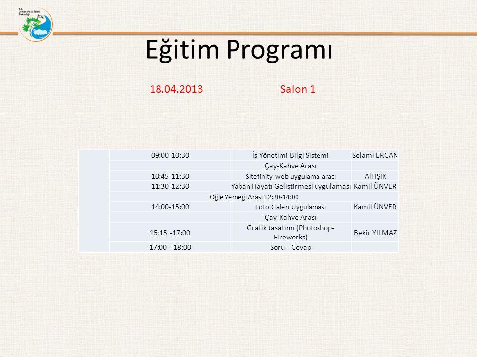 Eğitim Programı 18.04.2013 Salon 1 09:00-10:30İş Yönetimi Bilgi SistemiSelami ERCAN Çay-Kahve Arası 10:45-11:30 Sitefinity web uygulama aracı Ali IŞIK