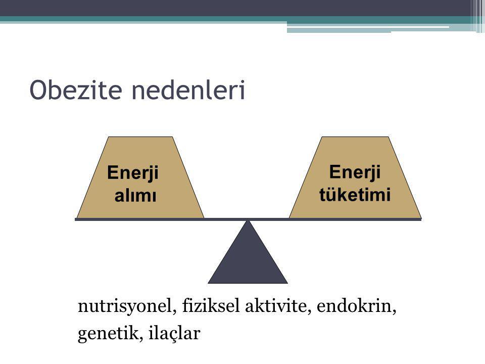 Obezite nedenleri Enerji tüketimi Enerji alımı nutrisyonel, fiziksel aktivite, endokrin, genetik, ilaçlar