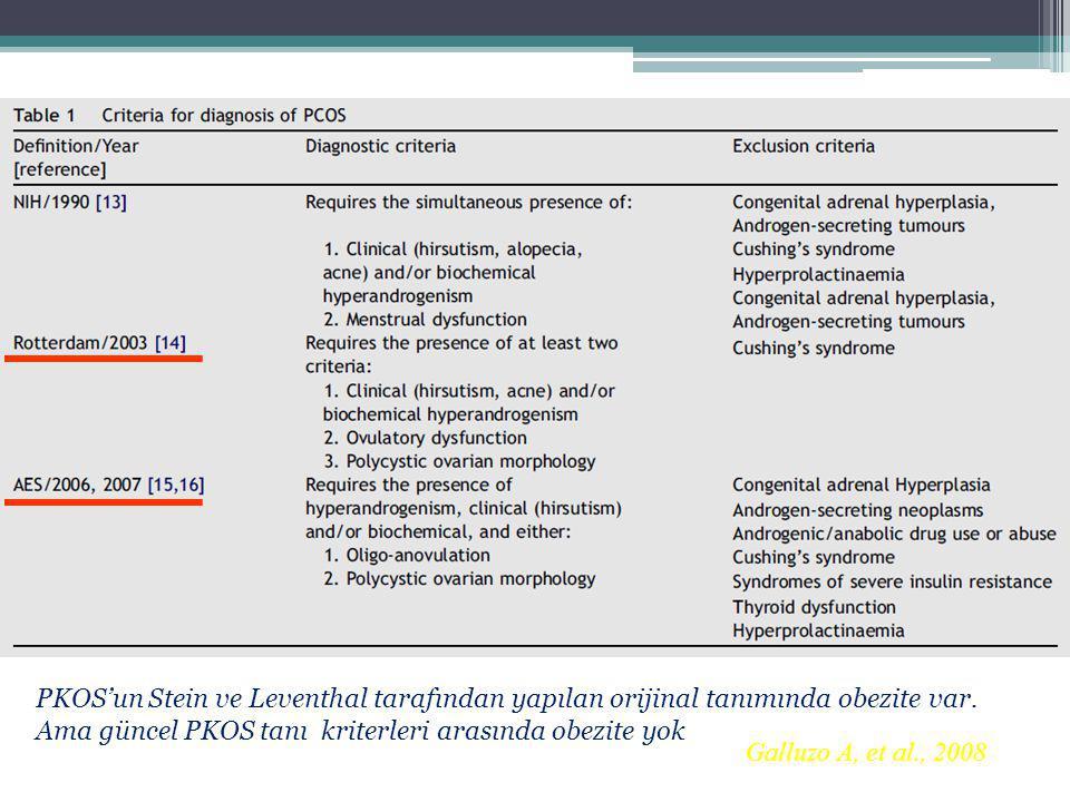 Galluzo A, et al., 2008 PKOS'un Stein ve Leventhal tarafından yapılan orijinal tanımında obezite var. Ama güncel PKOS tanı kriterleri arasında obezite