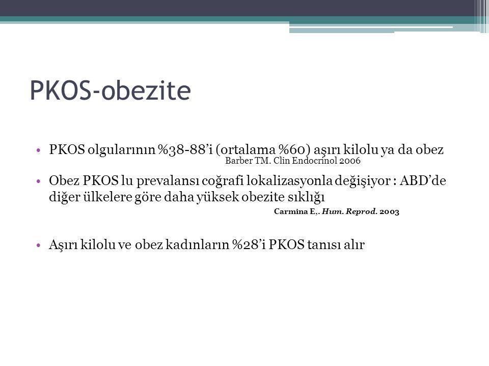 PKOS-obezite PKOS olgularının %38-88'i (ortalama %60) aşırı kilolu ya da obez Barber TM. Clin Endocrinol 2006 Obez PKOS lu prevalansı coğrafi lokaliza