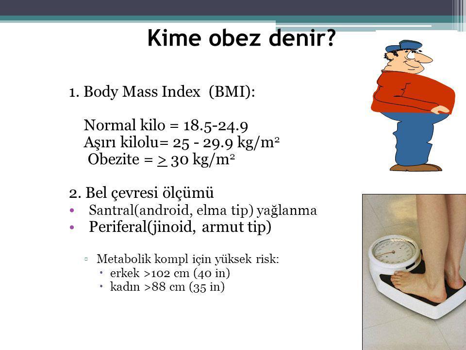 Kime obez denir? 1. Body Mass Index (BMI): Normal kilo = 18.5-24.9 Aşırı kilolu= 25 - 29.9 kg/m 2 Obezite = > 30 kg/m 2 2. Bel çevresi ölçümü Santral(