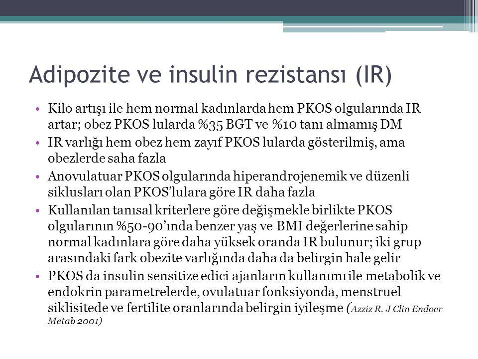 Adipozite ve insulin rezistansı (IR) Kilo artışı ile hem normal kadınlarda hem PKOS olgularında IR artar; obez PKOS lularda %35 BGT ve %10 tanı almamı