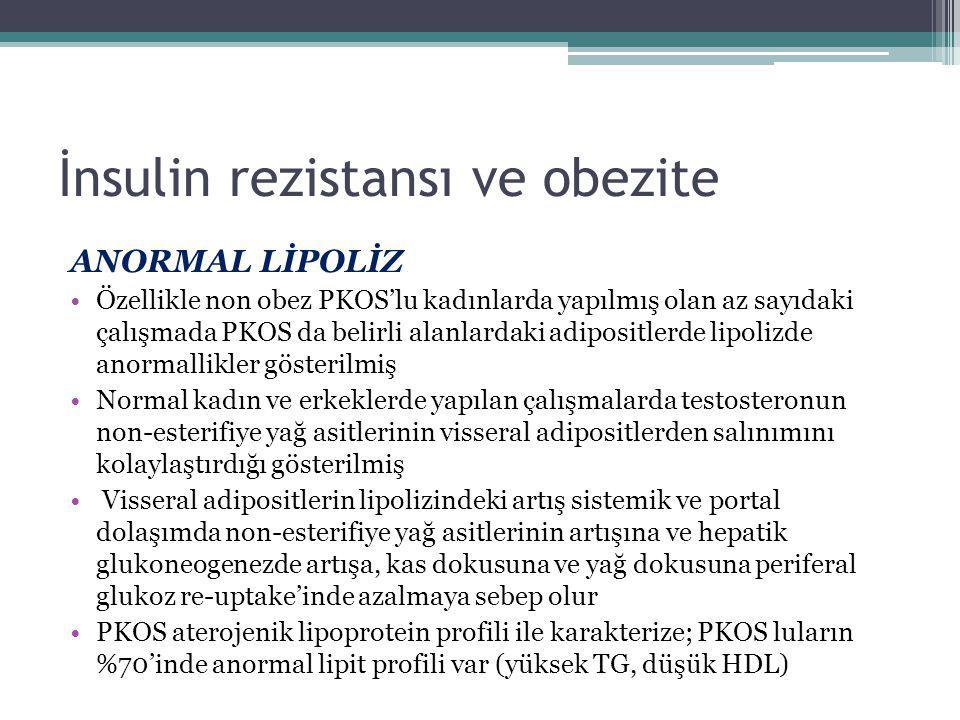 İnsulin rezistansı ve obezite ANORMAL LİPOLİZ Özellikle non obez PKOS'lu kadınlarda yapılmış olan az sayıdaki çalışmada PKOS da belirli alanlardaki ad