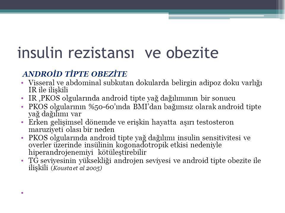insulin rezistansı ve obezite ANDROİD TİPTE OBEZİTE Visseral ve abdominal subkutan dokularda belirgin adipoz doku varlığı IR ile ilişkili IR,PKOS olgu