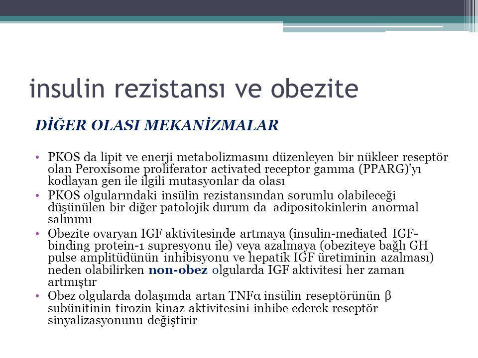 insulin rezistansı ve obezite DİĞER OLASI MEKANİZMALAR PKOS da lipit ve enerji metabolizmasını düzenleyen bir nükleer reseptör olan Peroxisome prolife