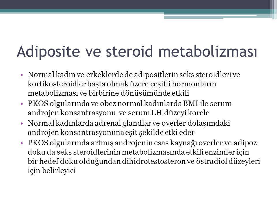 Adiposite ve steroid metabolizması Normal kadın ve erkeklerde de adipositlerin seks steroidleri ve kortikosteroidler başta olmak üzere çeşitli hormonl