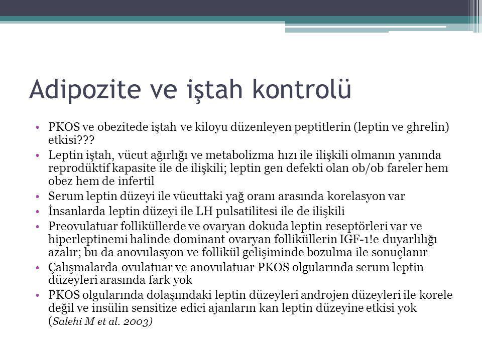 Adipozite ve iştah kontrolü PKOS ve obezitede iştah ve kiloyu düzenleyen peptitlerin (leptin ve ghrelin) etkisi??? Leptin iştah, vücut ağırlığı ve met