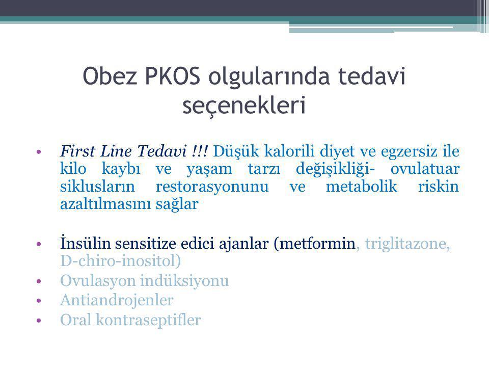 Obez PKOS olgularında tedavi seçenekleri First Line Tedavi !!! Düşük kalorili diyet ve egzersiz ile kilo kaybı ve yaşam tarzı değişikliği- ovulatuar s