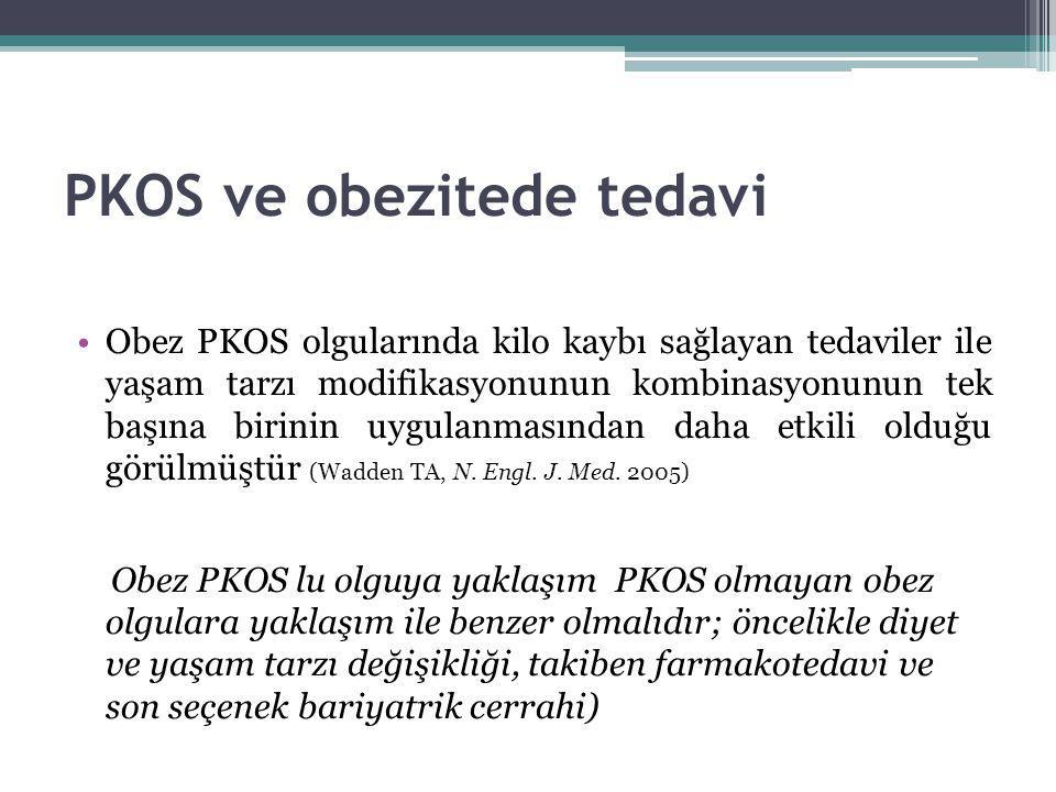 PKOS ve obezitede tedavi Obez PKOS olgularında kilo kaybı sağlayan tedaviler ile yaşam tarzı modifikasyonunun kombinasyonunun tek başına birinin uygul