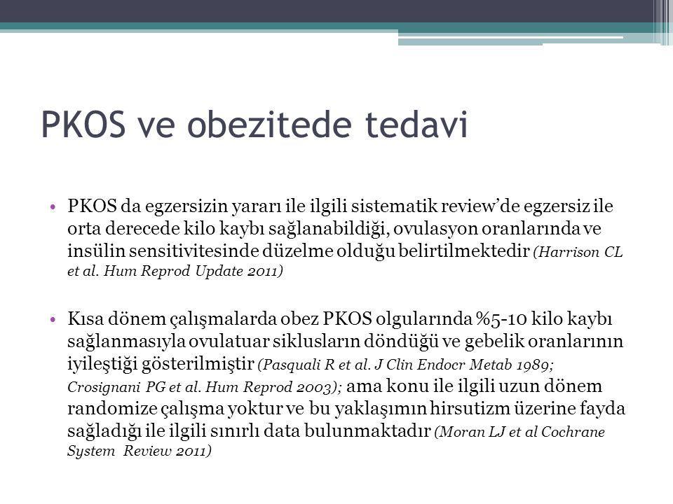PKOS ve obezitede tedavi PKOS da egzersizin yararı ile ilgili sistematik review'de egzersiz ile orta derecede kilo kaybı sağlanabildiği, ovulasyon ora