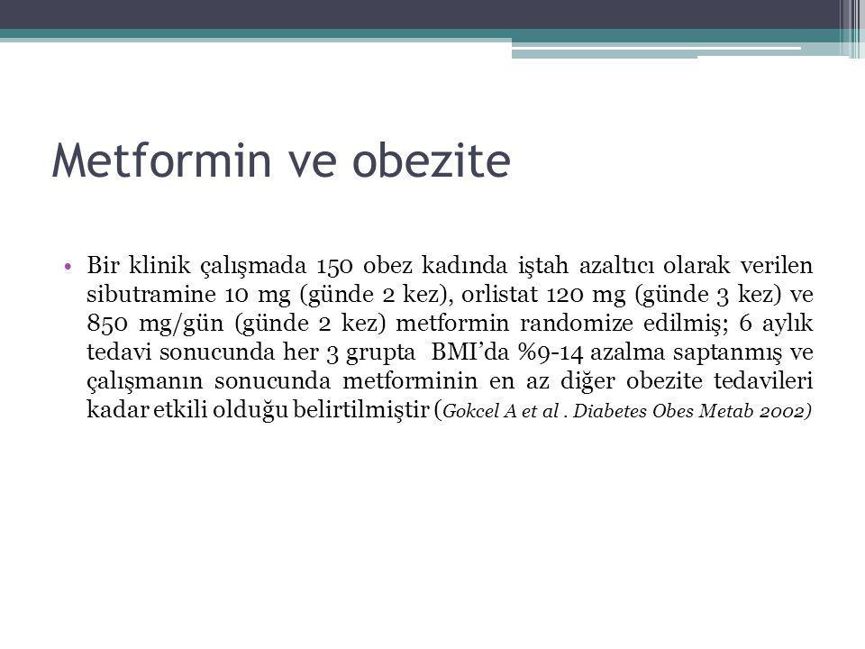Metformin ve obezite Bir klinik çalışmada 150 obez kadında iştah azaltıcı olarak verilen sibutramine 10 mg (günde 2 kez), orlistat 120 mg (günde 3 kez