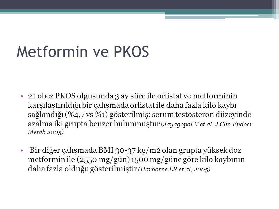 Metformin ve PKOS 21 obez PKOS olgusunda 3 ay süre ile orlistat ve metforminin karşılaştırıldığı bir çalışmada orlistat ile daha fazla kilo kaybı sağl