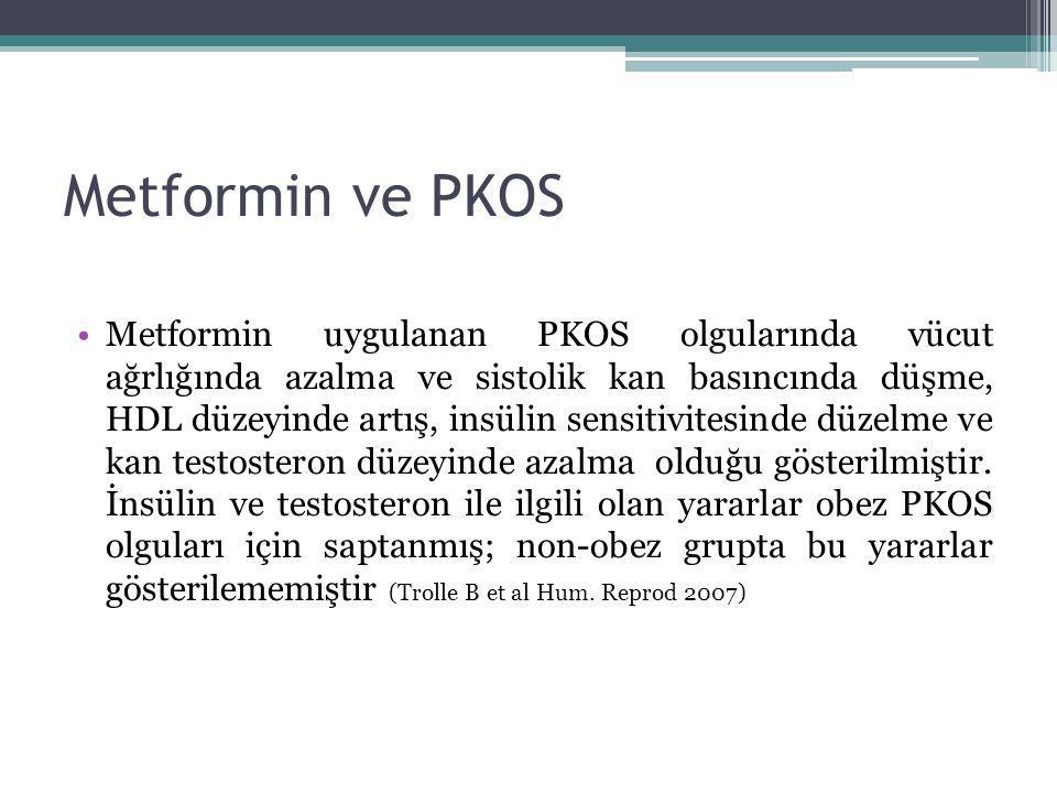 Metformin ve PKOS Metformin uygulanan PKOS olgularında vücut ağrlığında azalma ve sistolik kan basıncında düşme, HDL düzeyinde artış, insülin sensitiv