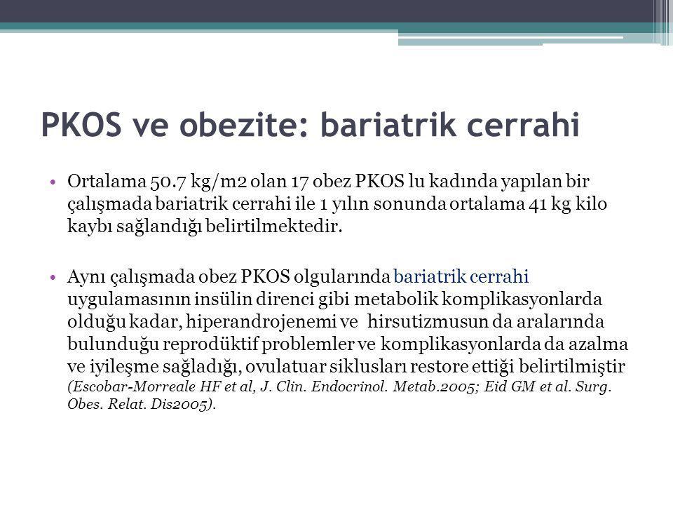 PKOS ve obezite: bariatrik cerrahi Ortalama 50.7 kg/m2 olan 17 obez PKOS lu kadında yapılan bir çalışmada bariatrik cerrahi ile 1 yılın sonunda ortala