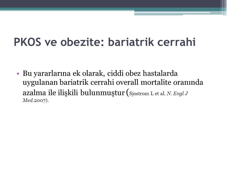 PKOS ve obezite: bariatrik cerrahi Bu yararlarına ek olarak, ciddi obez hastalarda uygulanan bariatrik cerrahi overall mortalite oranında azalma ile i