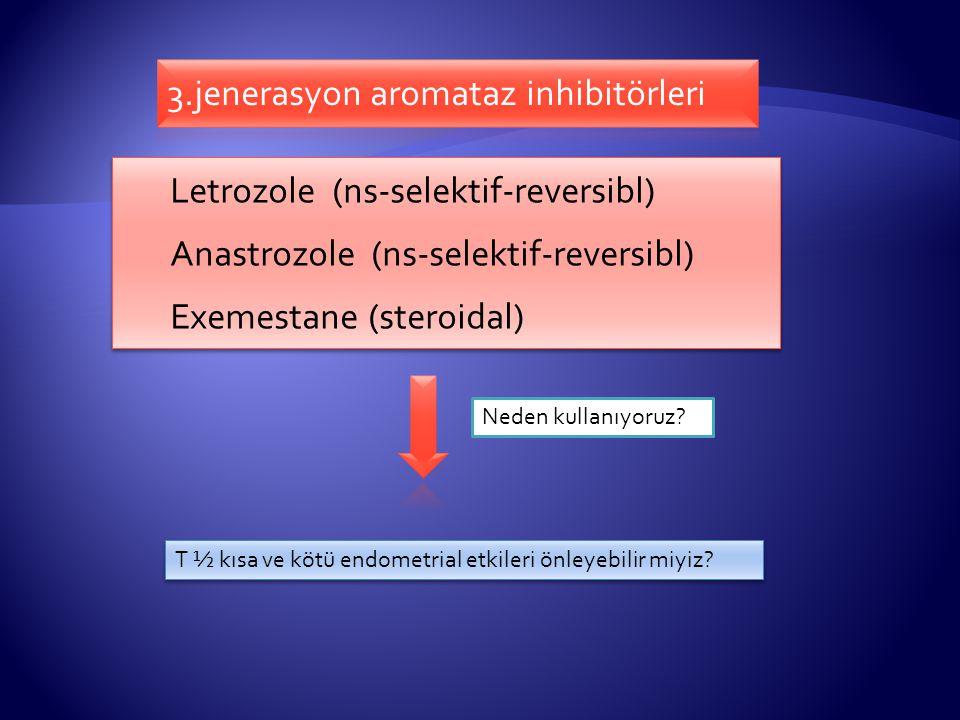 Letrozole (ns-selektif-reversibl) Anastrozole (ns-selektif-reversibl) Exemestane (steroidal) Letrozole (ns-selektif-reversibl) Anastrozole (ns-selektif-reversibl) Exemestane (steroidal) Neden kullanıyoruz.