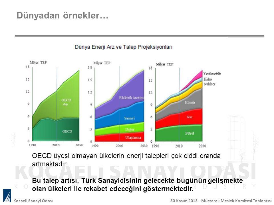 Dünyadan örnekler… Kocaeli Sanayi Odası 30 Kasım 2013 - Müşterek Meslek Komitesi Toplantısı OECD üyesi olmayan ülkelerin enerji talepleri çok ciddi or