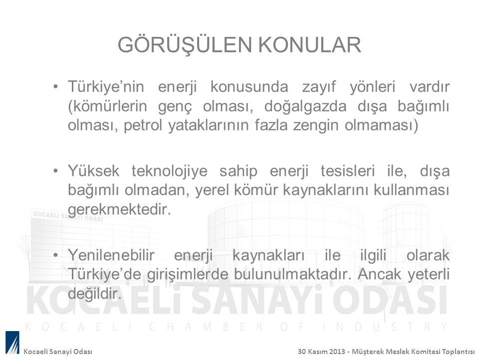 GÖRÜŞÜLEN KONULAR Türkiye'nin enerji konusunda zayıf yönleri vardır (kömürlerin genç olması, doğalgazda dışa bağımlı olması, petrol yataklarının fazla