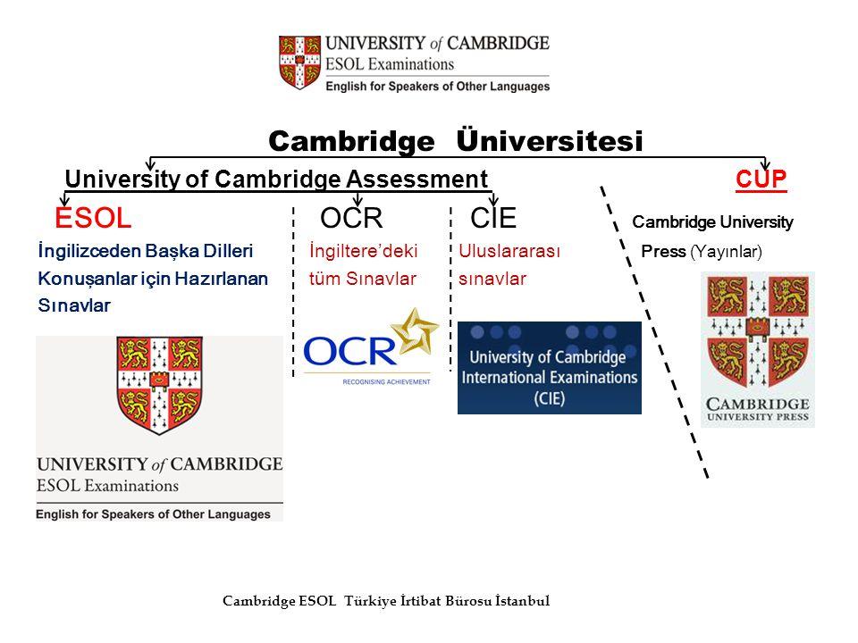 Cambridge Üniversitesi University of Cambridge Assessment CUP ESOL OCR CIE Cambridge University İngilizceden Başka Dilleri İngiltere'deki Uluslararası