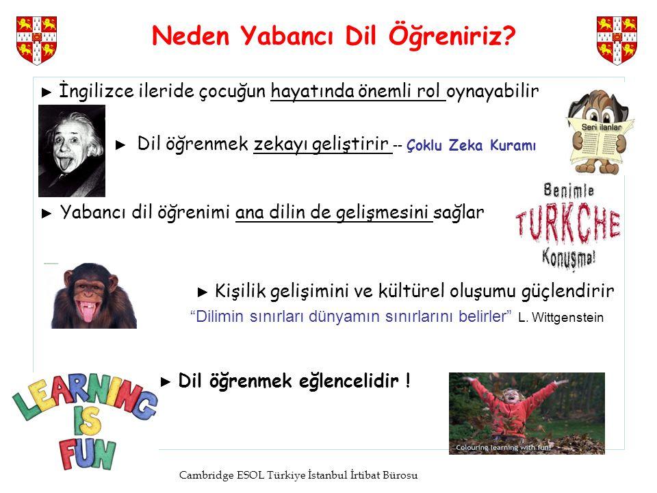 Cambridge ESOL Türkiye İstanbul İrtibat Bürosu Neden Yabancı Dil Öğreniriz? ► İngilizce ileride çocuğun hayatında önemli rol oynayabilir ► Dil öğrenme